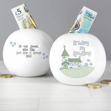 Personalised Whimsical Church Godson Money Box