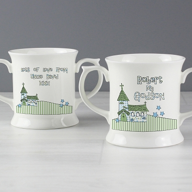 Personalised Whimsical Church Godson Loving Mug