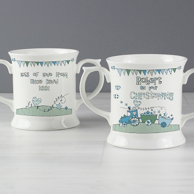 Personalised Whimsical Train Blue Mug