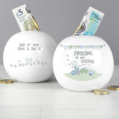 Personalised Whimsical Train Money Box