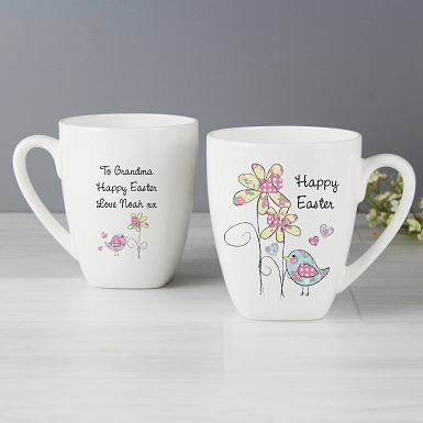 Personalised Easter Daffodil & chick Latte Mug