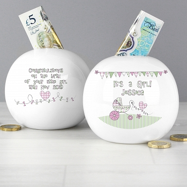 Personalised Whimsical Pram Its a Girl Money Box