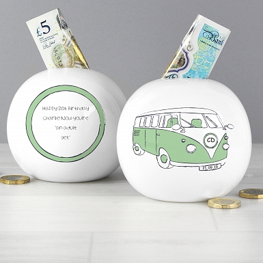 Personalised Green Campervan Money Box