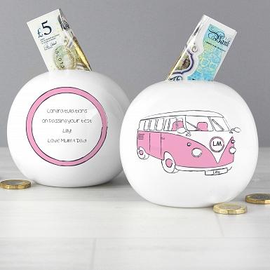 Personalised Pink Camper Van Money Box
