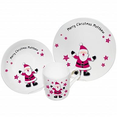 Personalised Spotty Santa Breakfast Set