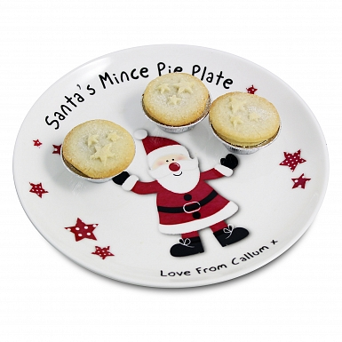 Personalised Spotty Santa Mince Pie Plate