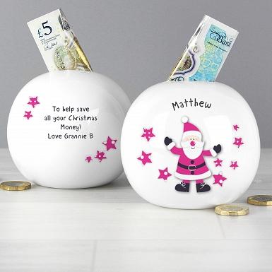 Personalised Spotty Santa Money Box
