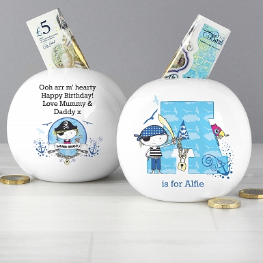 Personalised Pirate Letter Money Box