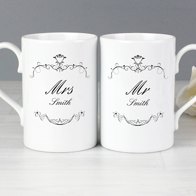 Personalised Ornate Swirl Mug Set
