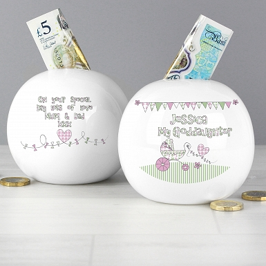 Personalised Whimscial Pram Goddaughter Money Box