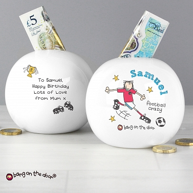 Personalised Bang on the Door Football Crazy Money Box