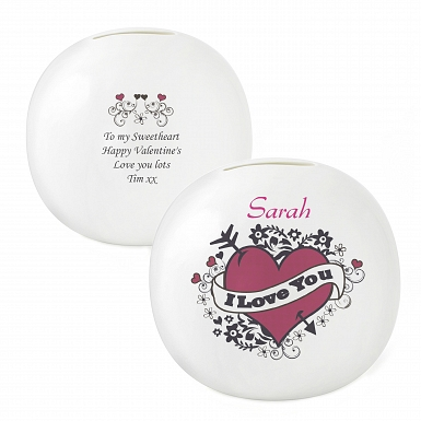 Personalised I Love you Tattoo Money Box