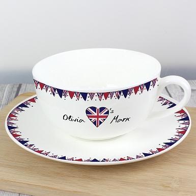 Personalised Union Jack Bunting Teacup & Saucer