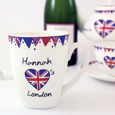 Personalised Union Jack Bunting Latte Mug