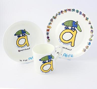 Personalised Bang On The Door Animal Alphabet Boys Breakfast Set