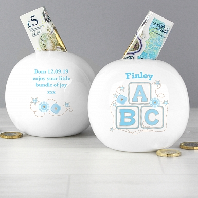 Personalised Blue ABC Money Box