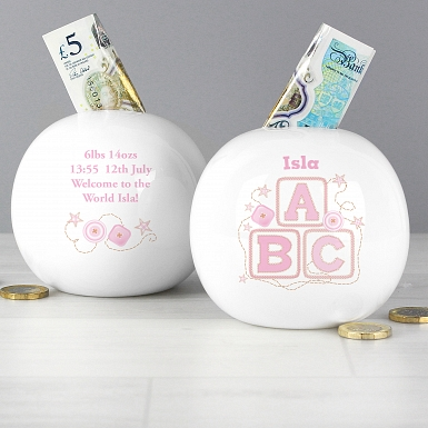 Personalised Pink ABC Money Box