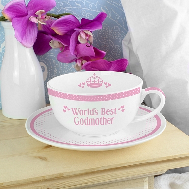 Personalised Pink Worlds Best Teacup & Saucer
