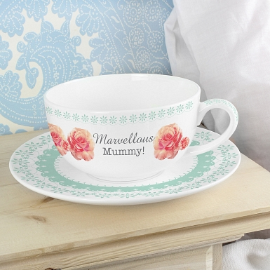 Personalised Vintage Rose Teacup & Saucer