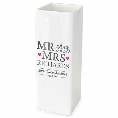 Personalised Mr & Mrs White Square Vase