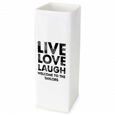Personalised Live Love Laugh White Square Vase