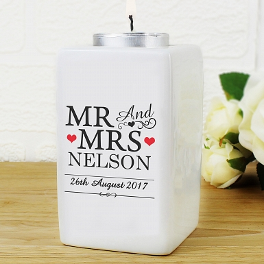 Personalised Mr & Mrs Ceramic Tea Light Candle Holder