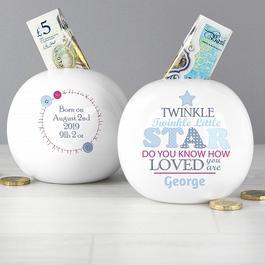 Personalised Twinkle Boys Money Box