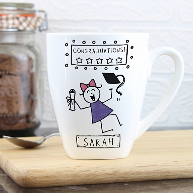 Personalised Purple Ronnie Female Graduation Latte Mug