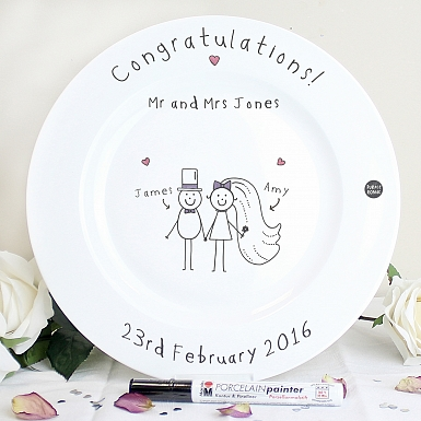 Personalised Purple Ronnie Wedding Message Plate
