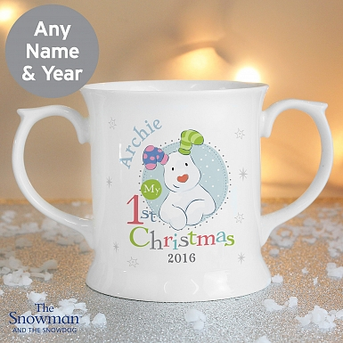 Personalised The Snowman and the Snowdog My 1st Christmas Blue Loving Mug