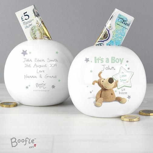 Personalised Boofle It's a Boy Money Box