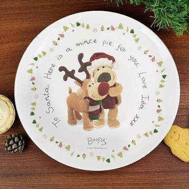 Personalised Boofle Christmas Reindeer Mince Pie Plate
