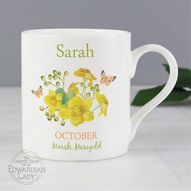Personalised Country Diary 'October Flower Of The Month' Balmoral Mug