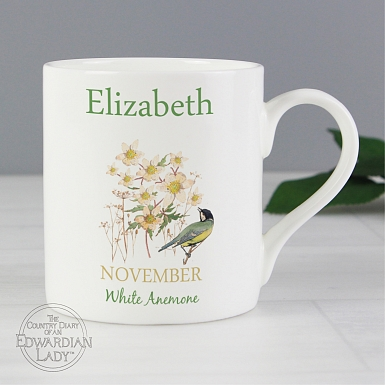 Personalised Country Diary 'November Flower Of The Month' Balmoral Mug