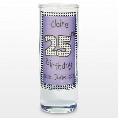 Personalised Lilac Happy Birthday Shot Glass