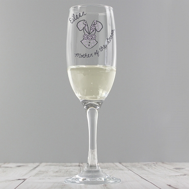 Personalised Dotty Wedding Elder Female Flute