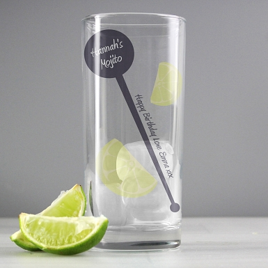 Personalised Lime & Stirrer Hi Ball Glass