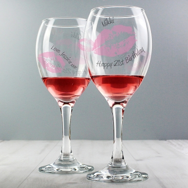 Personalised Kiss Wine Glass
