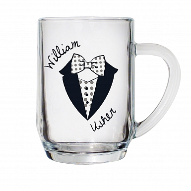 Personalised Dotty Wedding Male Tankard
