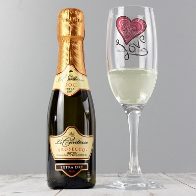 Personalised Love Heart Flute & Miniature Prosecco Set