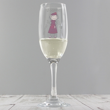 Personalised Cartoon Wedding Elder Lady Flute Glass