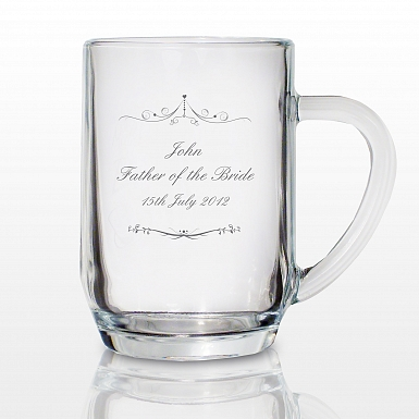 Personalised Ornate Swirl Tankard Glass