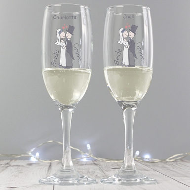 Personalised Cartoon Couples Pair of Flutes with Gift Box
