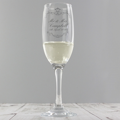 Personalised Ornate Swirl Toast Flute