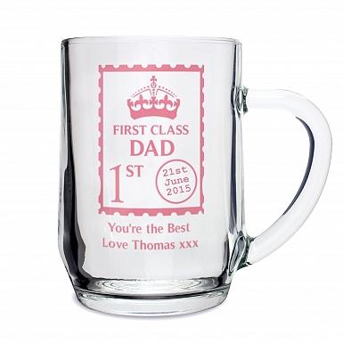 Personalised 1st Class Glass Tankard