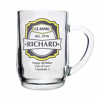 Personalised Classic Glass Tankard