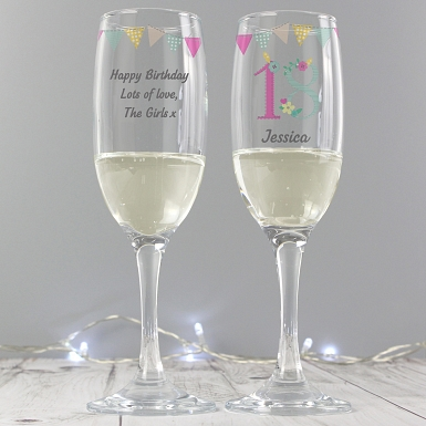 Personalised Birthday Craft Glass Flute