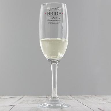Personalised Mr & Mrs Bride Glass Flute