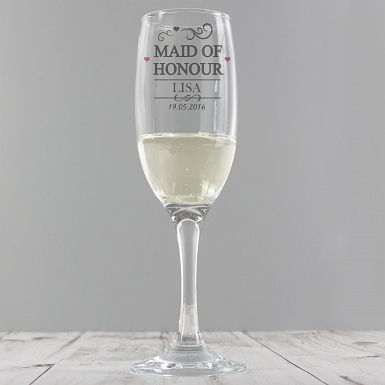 Personalised Mr & Mrs Maid of Honour Glass Flute