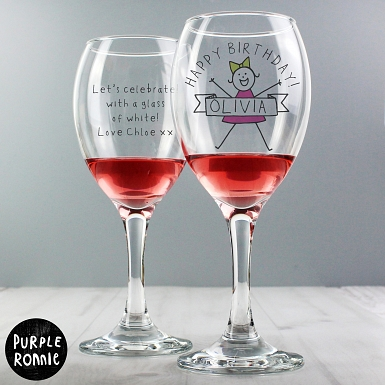 Personalised Purple Ronnie For Her Celebration Wine Glass